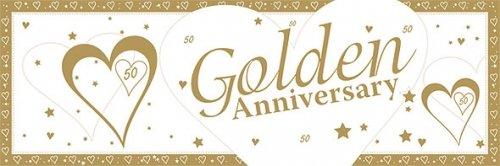 Golden Wedding Anniversary.Giant 50th Golden Wedding Anniversary Banner 60 X 20 In