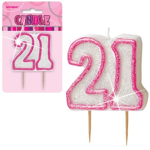 number 21 pink birthday candle