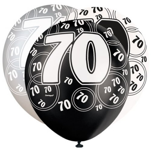 70th Birthday Pearlised Balloons Black Silver Pack Of 6
