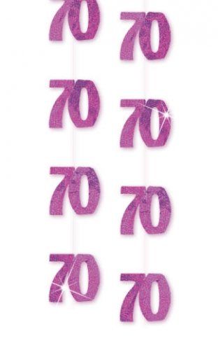 Pack Of Six 5ft Glitz Hanging Decorations Pink 70th Birthday