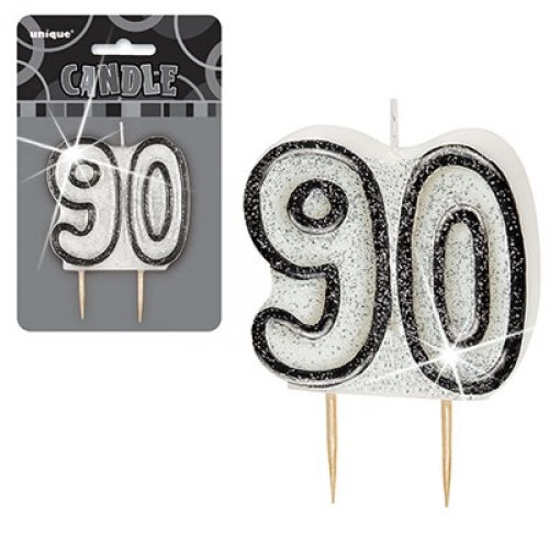 90 Glitter Number Age Candles Black Silver