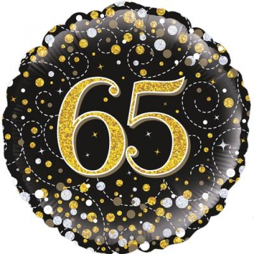 18 65th Birthday Sparkling Fizz Black Gold Holographic Foil Balloon
