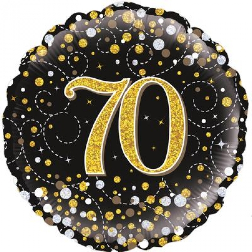 18 70th Birthday Sparkling Fizz Black Gold Holographic Foil Balloon
