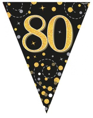 63173e9bf06bd Party Bunting Sparkling Fizz 80th Birthday Black & Gold...