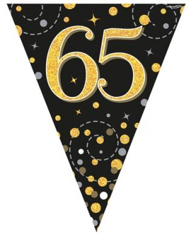 Party Bunting Sparkling Fizz 65th Birthday Black Gold Holographic 11 Flags 39m